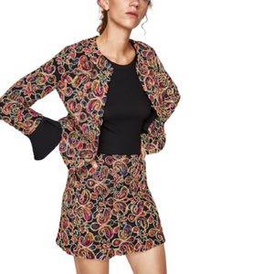 Zara Paisley Embellished Fabric Blazer Jacket